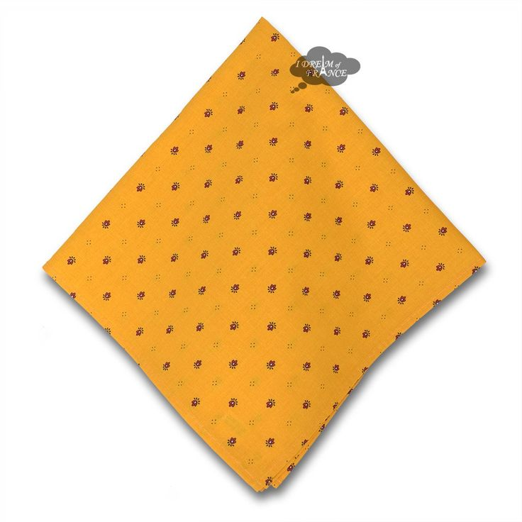 Ramatuelle Yellow & Red Provence Cotton Napkin by Tissus Toselli