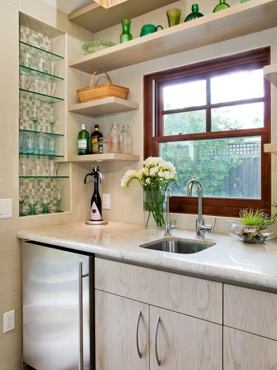 Wet Bar With Tiled Niche For Glassware And Floating Shelves   Traditional    Media Room   San Francisco   Bill Fry Construction   Wm. Wet Bar Designs,  Home ...