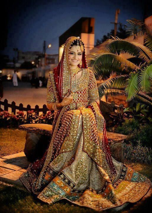 bronze-golden glitz with hints of traditional red, bridal clothing