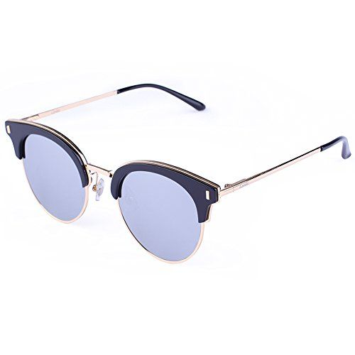 Carfia Vintage Fashion Round Style Metal and Plank Frame UV 400 Polarized Sunglasses with Mirror Lens for Women black frame silver lens multicoloured * Find out more about the great product at the image link.