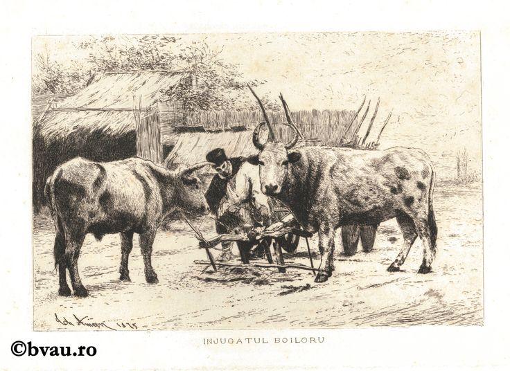 """Theodor Aman, Înjugatul boilor, 1875. Imagine din colecțiile Bibliotecii """"V.A. Urechia"""" Galați."""