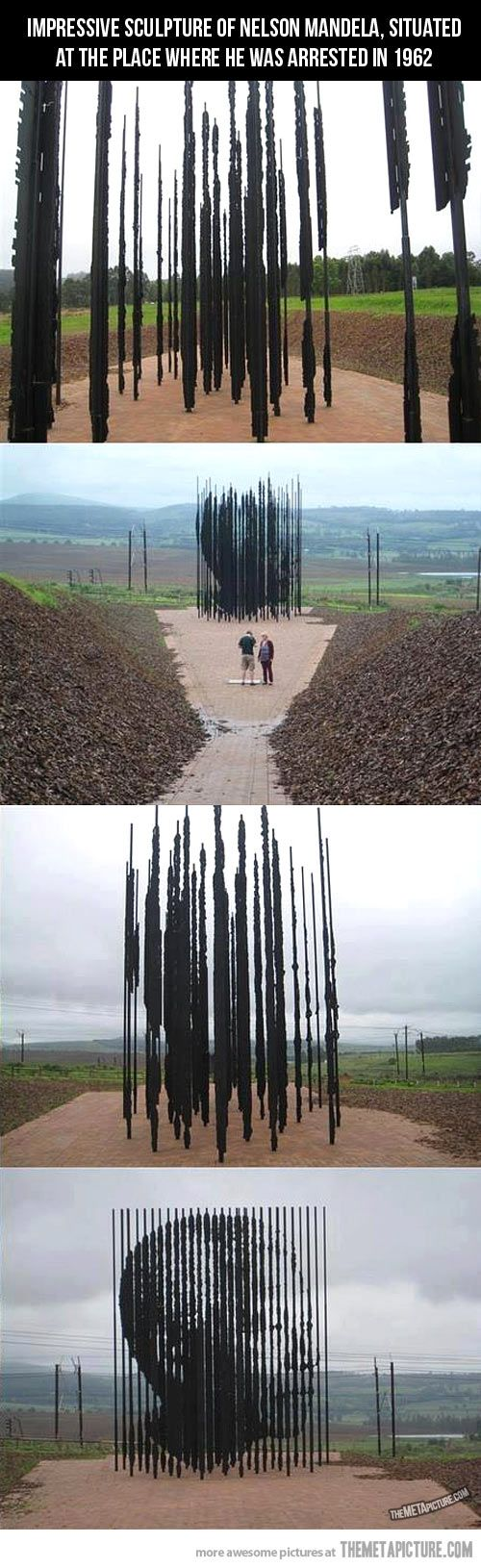 This stunning piece of artwork erected by South African artist Marco Cianfanelli, stands on the spot where Nelson Mandela was arrested 50 years ago. The monument is constructed out of 50 separate steel bars to represent 50 years since the capture.