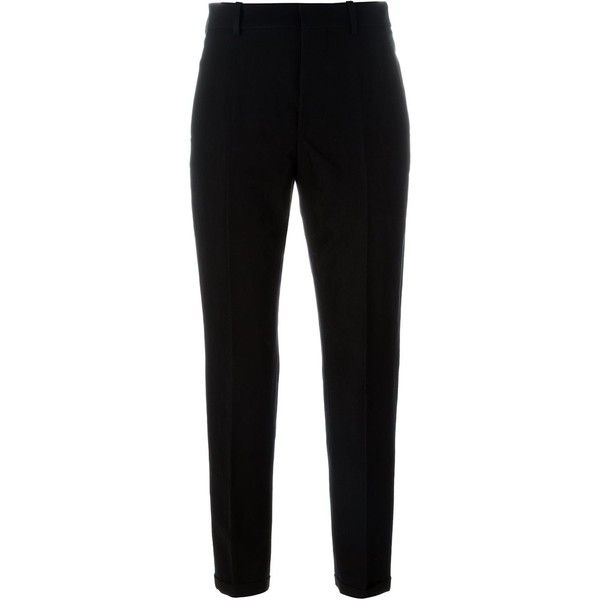 Marni cropped trousers ($780) ❤ liked on Polyvore featuring pants, capris, black, marni pants, cotton linen pants, marni, cropped pants and cropped capri pants