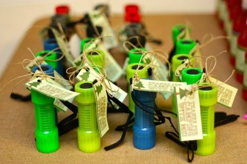 flashlight party favors for camping-themed birthday party