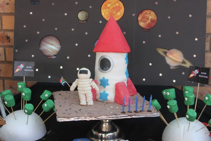Space/Rocket Ship/Astronaut Party cake. The cake did not exactly turned out the way I imagined, but my boy loved it and that is all that counts!