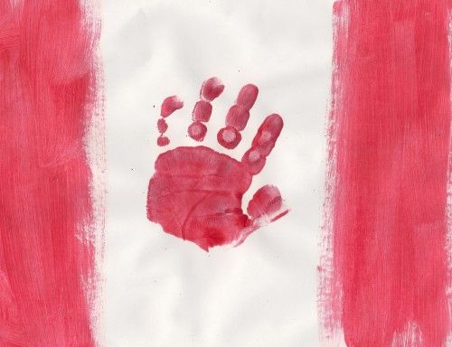 For Canada Day, keeping with the cavemen theme by finger painting the flag