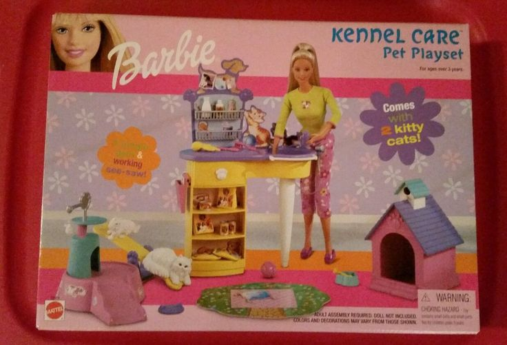 2001 Barbie Kennel Care Pet Playset with 2 Kitty cats Jungle gym See-Saw Dog House NRFB 2001
