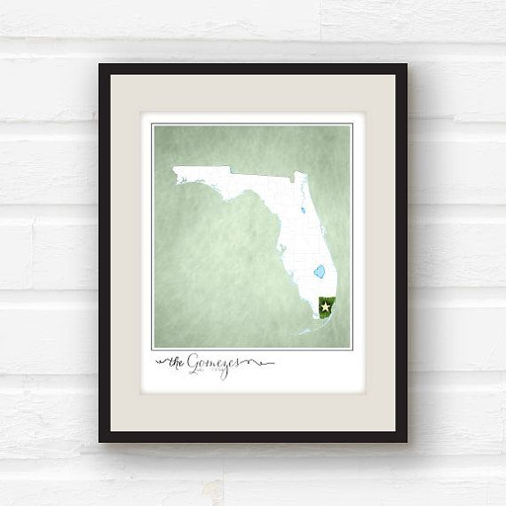 Every single family has a story - where they live, where they met, where they hope to be! Tell your Florida familys story with this fully customizable 11x14 print!    _______________________________________________________________________  SO, WHAT INFO DO YOU NEED FROM ME?:    - Which city/county youd like highlighted    - Your family name and what youd like underneath  (Can be names, a date, whatever youd like)    - What color youd like for your background. You can choose either a Haz...