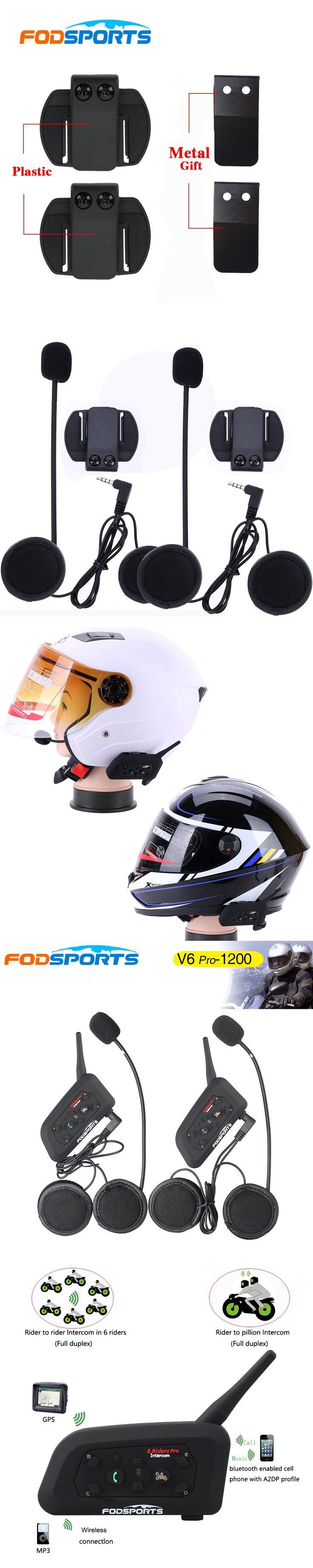 2017 Fodsports Brand! Metal clip +2 pcs V6 Pro BT Interphone 1200M Motorcycle Bluetooth Helmet Intercom headset for 6 Rider