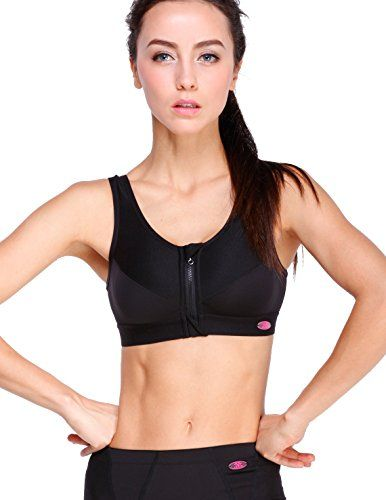 Yvette Zip Front Closure Sports Bra-High Impact/Racerback/Run... /Compression $29.99 (save $20.01)