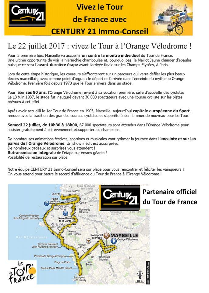 Vivez Le Tour de France avec Century21 Immo Conseil à Marseille Chateau Gombert RAF'IMMO !!!  Le 22 juillet 2017 : vivez le #TourdeFrance à l'Orange Vélodrome !!!  Pour la première fois, #Marseille va accueillir un contre la montre individuel du #TourdeFrance.  Une ultime opportunité de voir la hiérarchie chamboulée et pourquoi pas le #MaillotJaune changer d'épaules puisque, ce sera l'avant-dernière étape avant l'arrivée finale sur les Champs-Elysées, à #Paris.  Lors de cette étape…