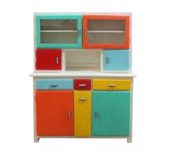 """Ce meuble si reconnaissable apparu dans les années 50 a été décliné dans plusieurs versions, vitré, ou pas,avec différentes dispositions des tiroirs et des portes, il était généralement disposé dans la salle à manger, dans la cuisine. Nous vous le proposons, aujourd'hui, à la façon """"MODRIAN"""", pour toutes les pièces de votre maison. ce trés beau modèle a été réalisé avec le plus grand soin."""
