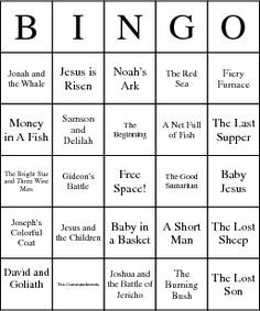 christian games for children | Children's Bible Stories Bingo Card