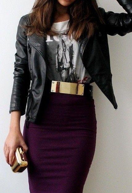 Women fashion leather coat pencil skirt.