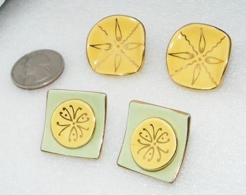 SOLD ~ Vintage Lot of 2 Milvern Co Porcelain Clip on Earrings Costume Jewelry | eBay