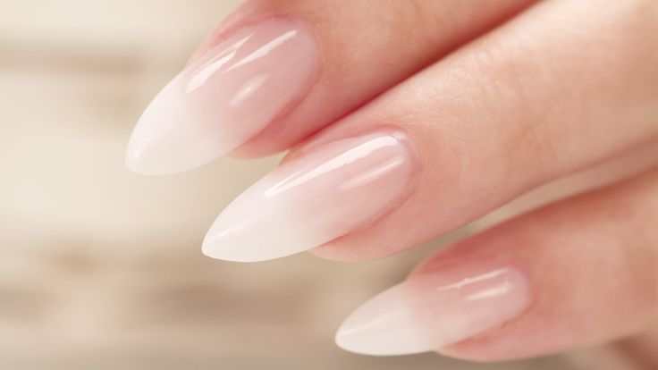 French Fade / Baby Boomer Almond Acrylic Nails – Three Color Fade