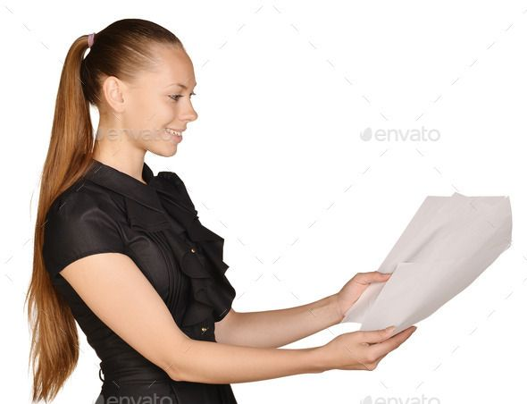Business beautiful girl holding a blank sheet of paper