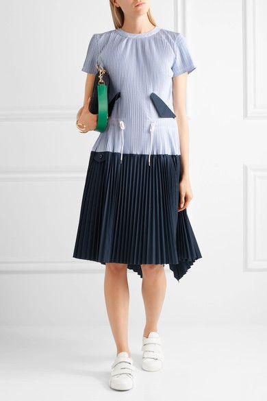 Sacai | Striped plissé cotton-poplin dress | NET-A-PORTER.COM