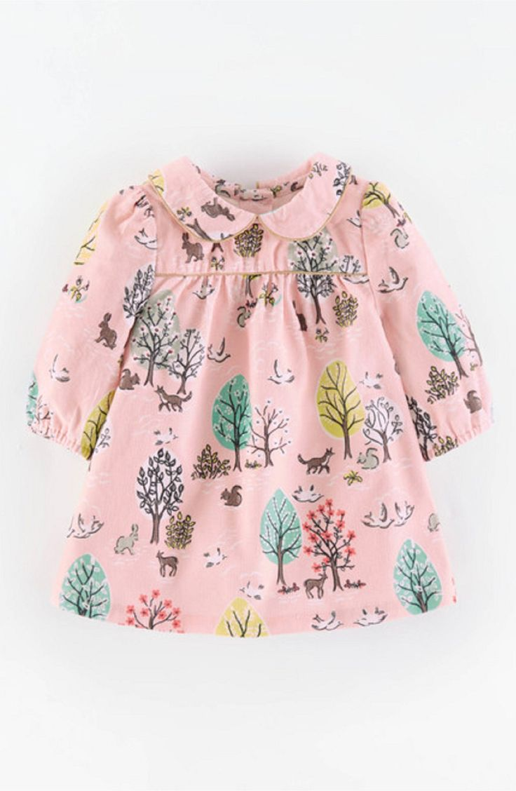 Mini Boden 'Charming' Peter Pan Collar Corduroy Dress (Baby Girls)