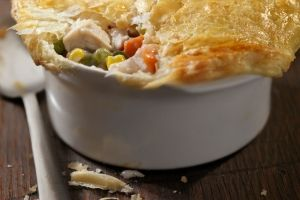 Chicken pot pie,.. only 12 grams of fat (when a regular pot pie has 62!)