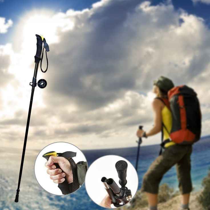 1pc Folding Collapsible Alpenstocks Ultralight Travel Hiking Climbing Backpacking Walking Trekking Pole Climbing Stick with EVA Foam Handle >>> Details can be found by clicking on the image.