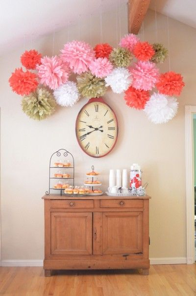 Diy Pom Poms Over The Dessert Bar At My Baby Shower