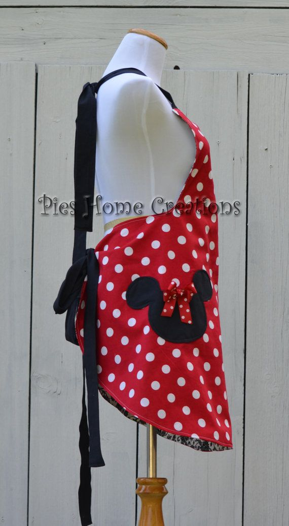 Taking orders up to the 12th for Christmas! This apron was inspired by my Love of Minnie and Mickey. This Adult Minnie Mouse Full Apron is
