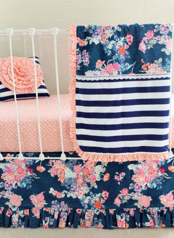 Navy and Peach Baby Girl Bedding Set  ___________________________  Item Options:  1 Navy floral ruffle trim pillow, including 14 x 14 pillow insert