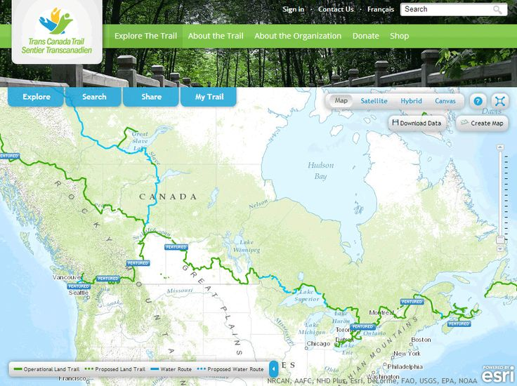 Experience the Trans Canada Trail #Esri #interactivemap