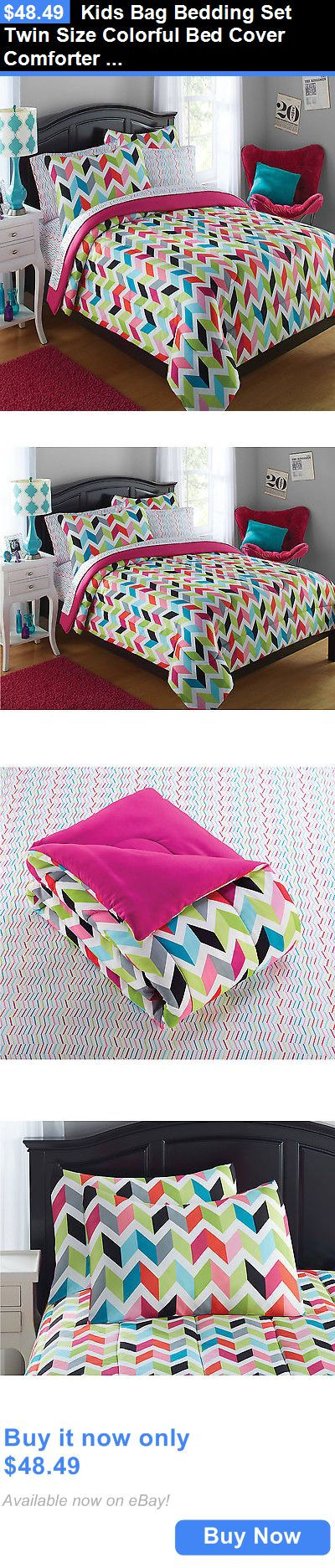 Kids Bedding: Kids Bag Bedding Set Twin Size Colorful Bed Cover Comforter Sheet Teen Bedroom BUY IT NOW ONLY: $48.49