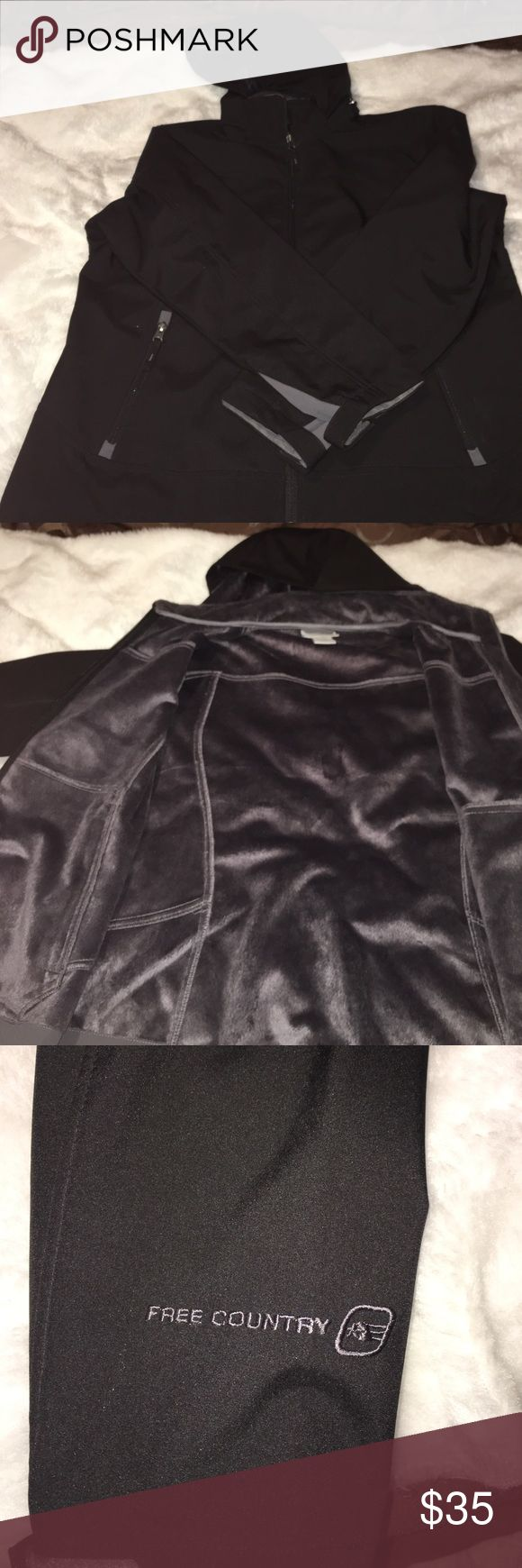 Free Country women's hooded jacket Free Country jacket with zipper pockets on the front soft&warm inside... like new condition.. hood is detachable...Velcro for adjusting at the wrists...priced to sell‼️‼️‼️‼️ Free Country Jackets & Coats Utility Jackets