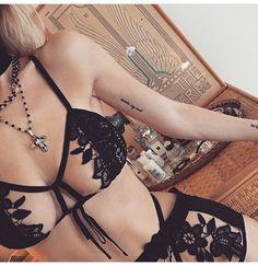 Hot black lingerie bralette and knicker set