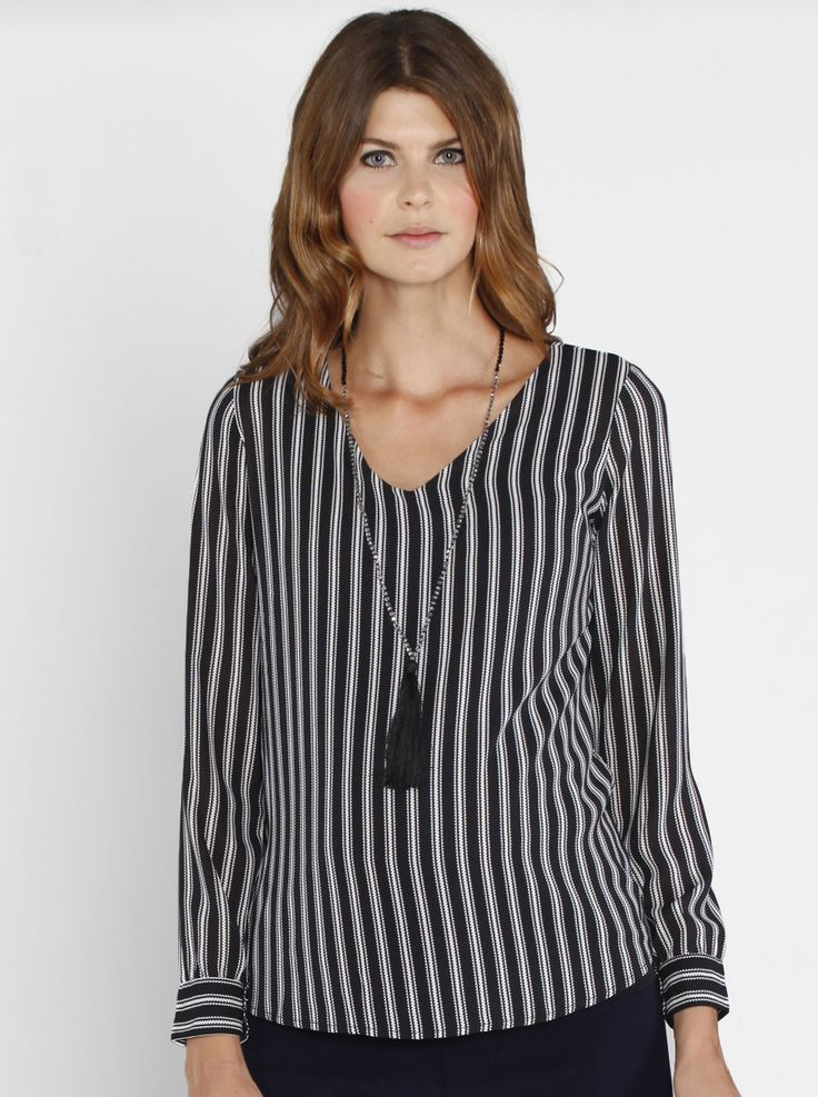 Layered Chiffon Nursing V-Neck Blouse in Navy Stripes, $49.95, is an on-trend breastfeeding top that features a hidden middle zipper access for nursing.