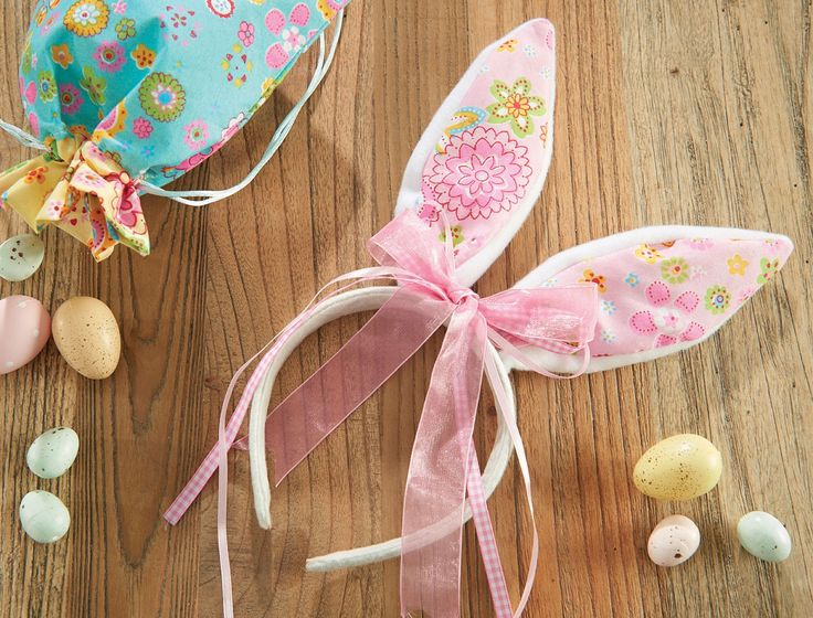 FABRIC+BUNNY+EARS+WITH++-+BOW+PINK