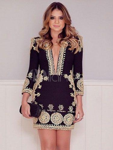 ボディコンドレス ブラック Vネック 長袖 プリント柄 刺繍 女性用 アクセサリー含まず , Milanoo