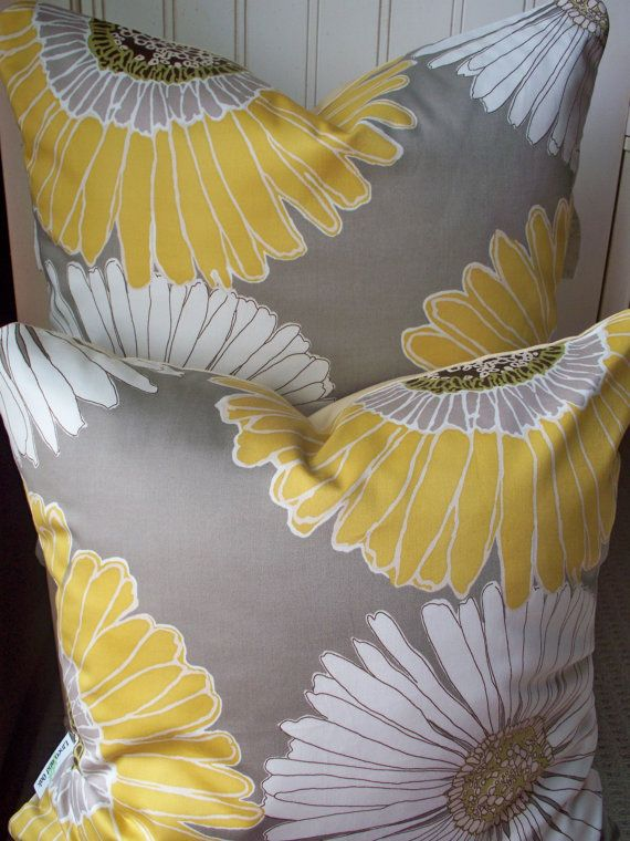 Two Decorative Pillow Sunflower Taupe Gray Gold Yellow Large Floral 18X18 Lined