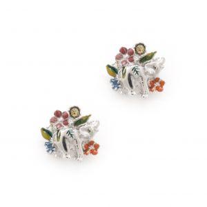 Elephant Floral Earrings - Rhodium