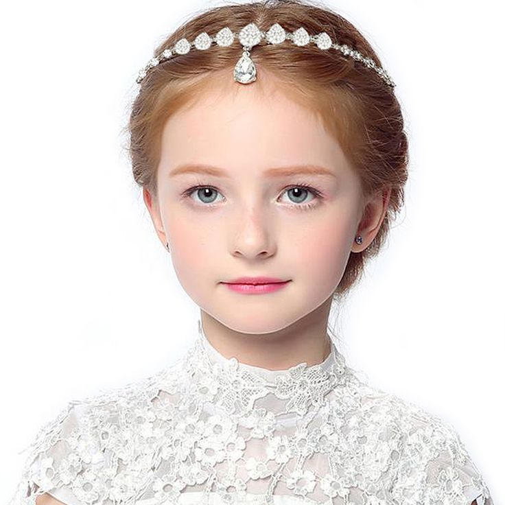 Kerala Bride Simple Hairstyle For Long Forehead: Crystal Bridesmaid Flower Girl Forehead Headband Head