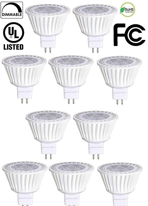 10 Pack Bioluz Led Mr16 Led 50w Halogen Equivalent Dimmable 7w 3000k 12v Ac Dc Ul Listed Mr16 Led Bulbs Led Bulb Led