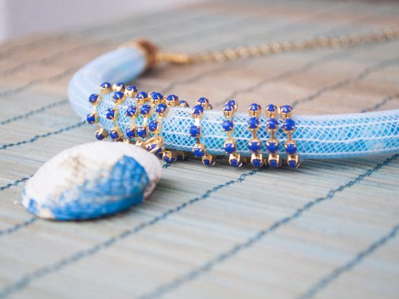 White Blue Beaded Seashell Necklace by Comeasyouarejewelry on Etsy