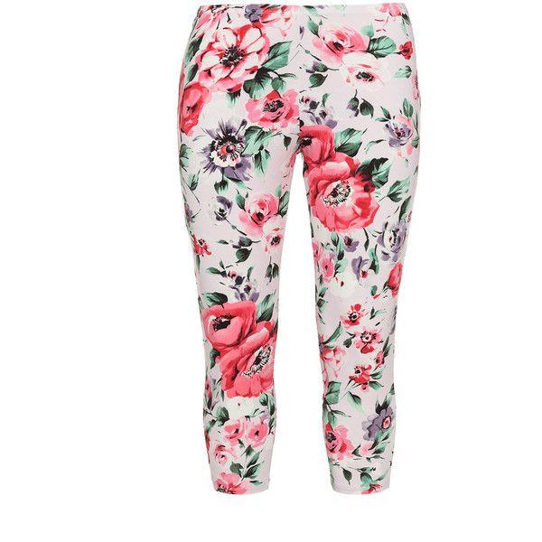 Rimini Pink / Green Plus Size Printed leggings ($50) ❤ liked on Polyvore featuring pants, leggings, plus size, pink, pink leggings, plus size white pants, fitted pants, plus size green pants and legging pants