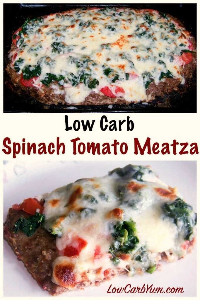 This spinach tomato meatza pizza is basically just a seasoned ground beef mix co…