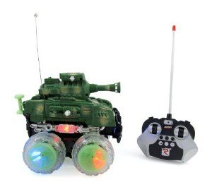 """RC Stunt Tank Remote Control Military Battle Tank that Shoots BBs by RC Battle Tank. $23.75. Super fun, fast & mobile rc stunt tank!. Giant wheels light up, 3 music modes, engine and honking sounds. Shoot BBs, includes target and 100 pack of bullets. Easy to control, moves forward & backward, swerves left & right, spins on ground & spins upright. Heavy duty tank measures 8"""" x 7"""" x 7"""". Super fun and exciting rc stunt tank that shoots!   Press the ignition button, let's ..."""