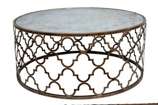 Quadrefoil Coffee Table in Antique Gold by Tantra Mirrors