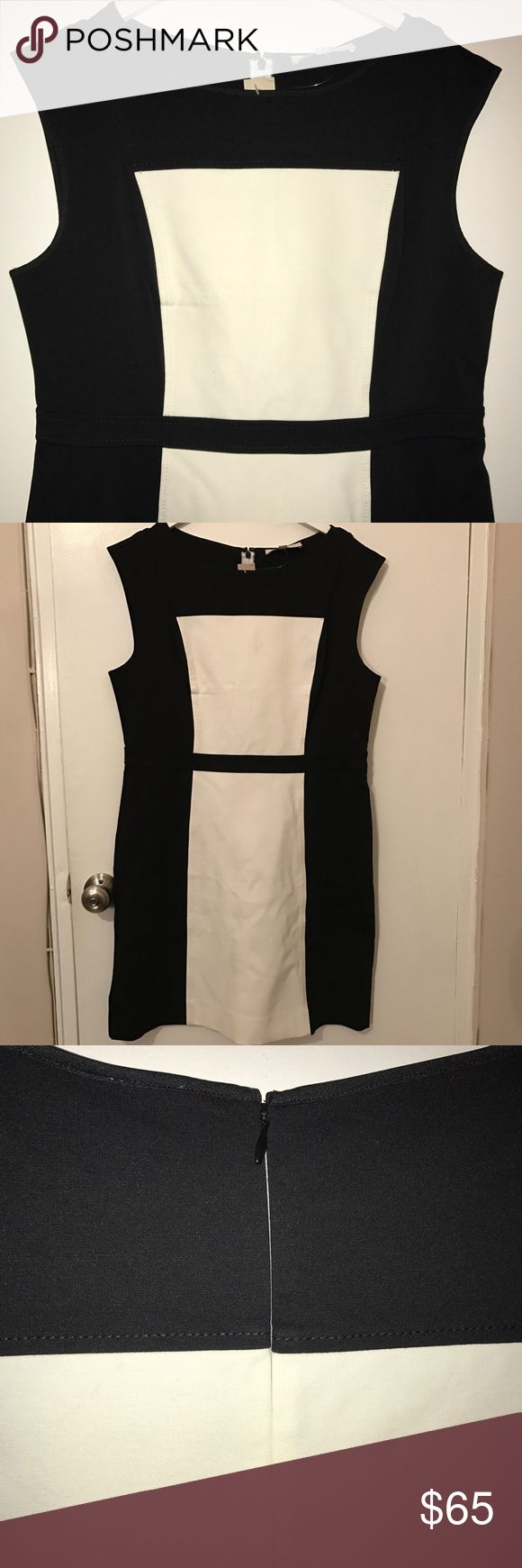 Ann Taylor LOFT dress Blk/Wht stretch This Ann Taylor LOFT dress is incredible. It has a ton of stretch, to fit your curves. black and cream/white with a hidden zipper, this dress works great for work, dinner, a date, a wedding, or just brunch with the girls! Don't miss out! (Sorry, no trades) LOFT Dresses