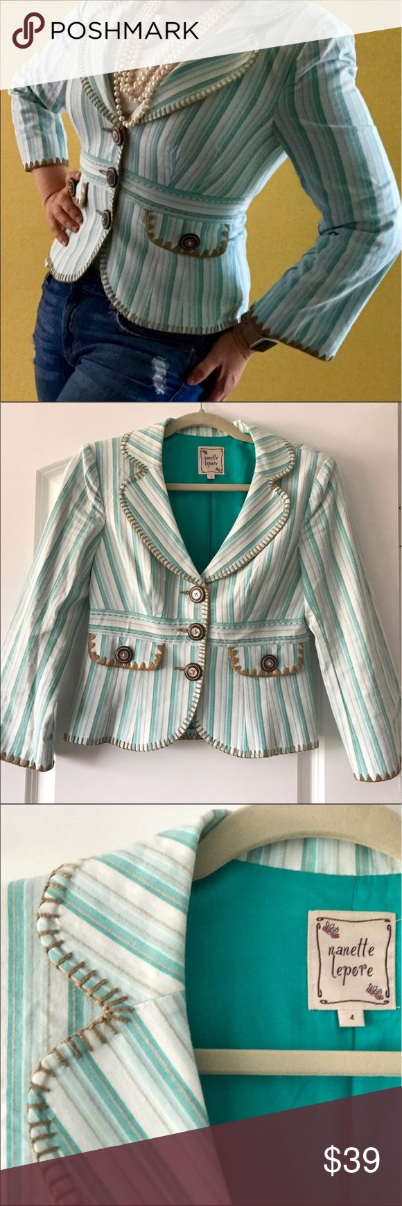 Nanette Lepore summer jacket Nanette Lepore cotton summer jacket, mint colour, size 4 petite. Very flattering and it is in like new condition!!! Nanette Lepore Jackets & Coats Blazers