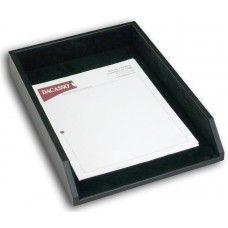 Desk Supplies> Desk Set / Conference Room Set >Organizers: Black Leather Legal Letter Tray