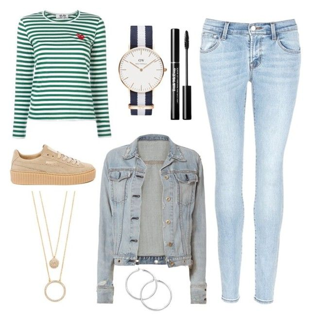 """Blå mandag"" by grekke on Polyvore featuring Play Comme des Garçons, J Brand, Puma, Daniel Wellington, rag & bone and Kate Spade"