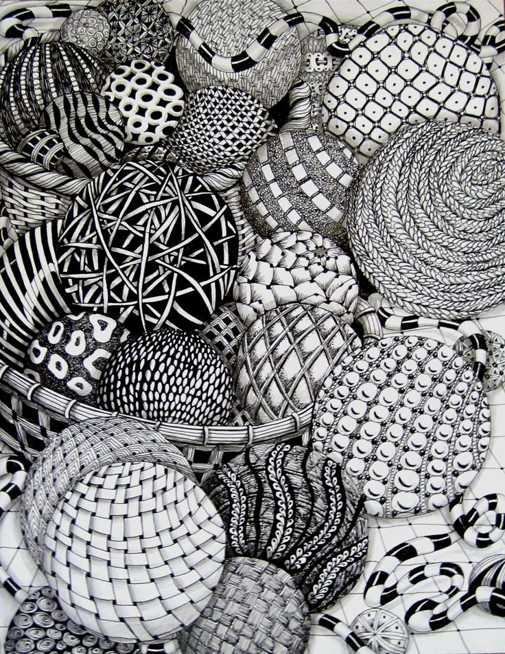 Today's Drawing Class 101: Zentangles |   Zentangle balls by MissyLiss