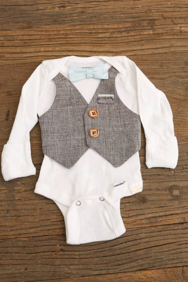 Baby Boy Bow Tie and Vest Onesie. $30.00, via Etsy.